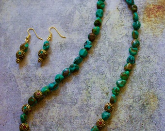 Turquoise, Tibetan Beads Necklace with Matching Earrings.
