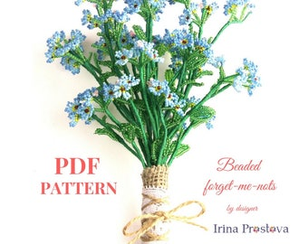 PDF pattern, Forget-me-not,  Seed bead flower tutorial, PDF Tutorial, Bead weaving Tutorial, Seed Bead Tutorial, Flower Pattern, Forgetmenot