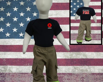 Cute Baby Firefighter Outfit Tan Pants