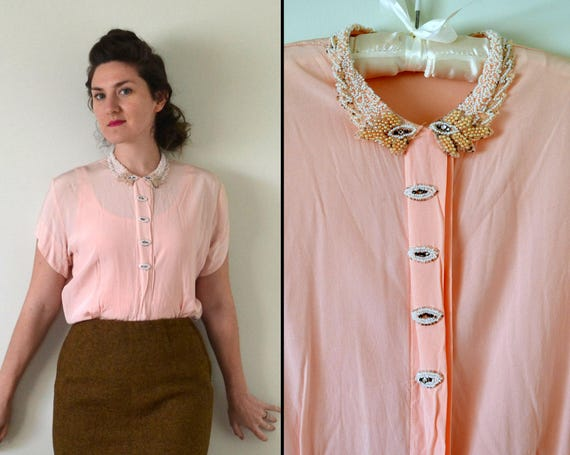 Pink Champagne Blouse | vintage 30's blush pink beaded collar button down top | small