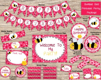 Bumble Bee Birthday Party Digital Pack - Printable Party Set - Pink - Girl Birthday - First Birthday - DIY Party