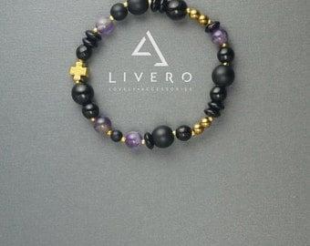 Amethyst bracelet, Shungite bracelet, Onyx bracelet, Hematite bracelet, Womens bracelet, Womens gift, Bracelet for her, Onyx shungite beads