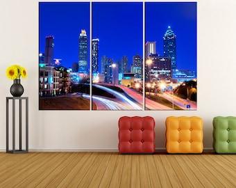 Atlanta skyline wall art canvas Print, Atlanta night photo print, extra large wall art for home and office decor bir35