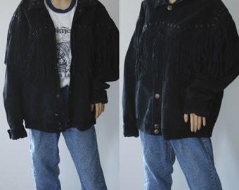 Beautiful Vintage Black Leather Fringe Jacket