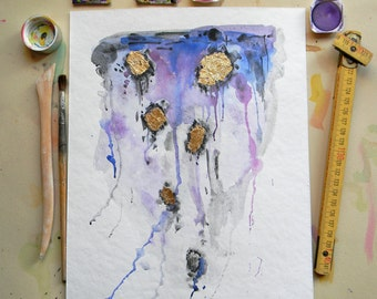 Meteorite - Original abstract watercolor painting in Purple-Blue-Gray with Gold leaf Original painting Original aquarelle Modern wall art