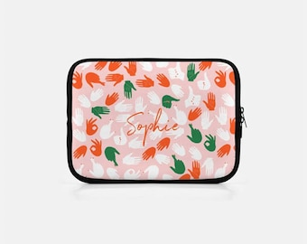 Personalized iPad Sleeve, Custom Tablet Sleeve, Pink iPad mini Sleeve, Hand Print, Hand Gestures Print, Pink Kindle Sleeve, Cute Nook Sleeve