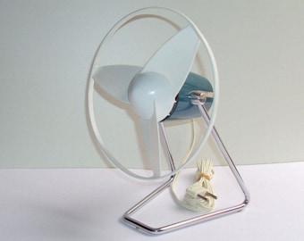 Fan CALOR, petrol blue, design Jean PARTHENAY, 1960, TECHNES, R. Tallon, painted, chromed metal, vintage