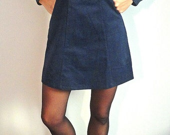 Ribbed knit collar dress peter pan and blue tie