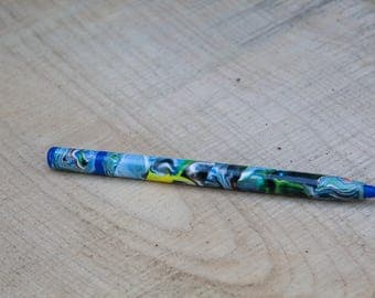 "Polymer Clay Pen, Abstract Design, ""American River"""