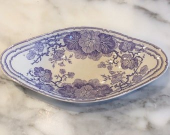 2 French Antique Serving Dishes (Sarreguemines, Gien, Creil, lavender, transferware, faience, terre de fer, porcelain, ceramic, ravier)