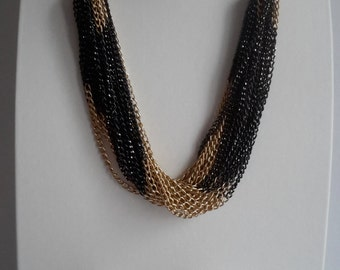Multi-strand chain necklace and bracelet set, black and gold colour medium long multi-strand necklace and matching bracelet