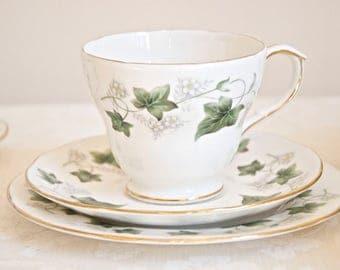 Duchess Ivy vintage tea trio: teacup with saucer and plate. Bone china England. For Tea & Coffee lovers, wedding, housewarming, high tea