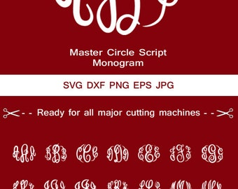 Master circle svg script font svg files-Monogram Alphabet-monogram svg letters, vinyl cut files, Silhouette monograms. cricut.