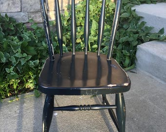 Kid's Windsor Chair ~ Small Vintage Child's Chair ~ Desk Chair ~ Play Table Chair ~ Navy Blue Wood Chair