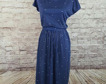 Vintage LANVIN for I. Magnin Dress/1980's Lanvin Dress/ Navy Blue/ Size 14