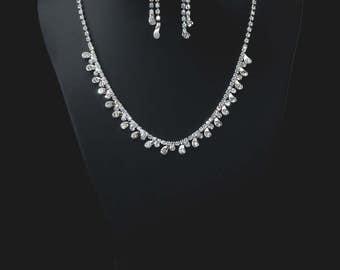 "Set of ""Cordelia"",Rhinestone Jewelry Set, Crystal Wedding Necklace Set, bridal jewelry set, wedding jewelry set, bridesmaid jewelry set."