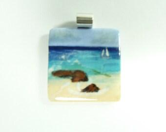 Handmade Ceramic Pendant with Hand Painted/Glazed Beach Scene done by Tiffany Traynor.