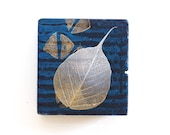 Leaf wall art, mixed media on small reclaimed wood block, abstract design with dark blue stripes, wabisabi, zen decor