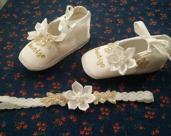 Baby Girls Bautizo Gold & White Satin Crib Shoes Set w Headband,Baby Booties,Mary Janes, Baptism Shoes, Christening Wear,Vintage Satin Shoes