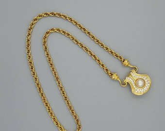 Nolan Miller Faux Pearl and Crystal Rhinestone Goldtone Pendant with Chain, 1980s Goldtone Chain Necklace with Detachable Crystal Pendant