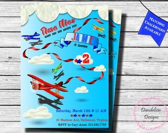 Airplane birthday invite, Time flies birthday invitation, Airplane First birthday invitation, 1st birthday boy invite, 2nd birthday, 3rd,