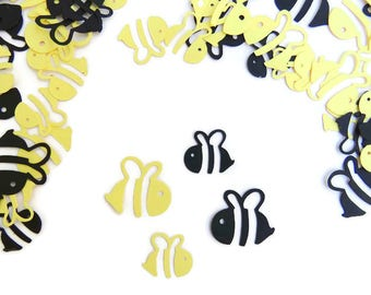 Bee Confetti, Bumble Bee Yellow Black Baby Shower Birthday Party Table Scatter, Set of Approx. 200