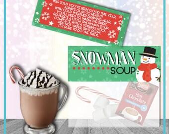 Snowman Soup Printable Gift Tag Digital Download  Christmas Printable Gift