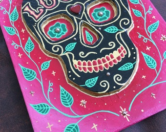 skull crane peinture sugar skull calavera day of the dead  lucky charm trefle original  3D art