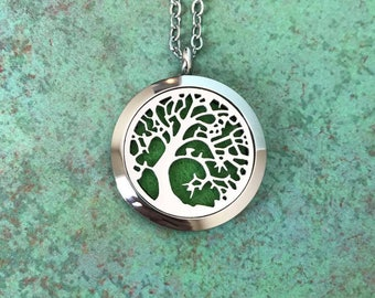30mm Stainless Steel Tree Of Life Essential Oil Diffuser Necklace, Aromatherapy, Homeopathy, Natural Healing, Tree Of Knowledge, Unique