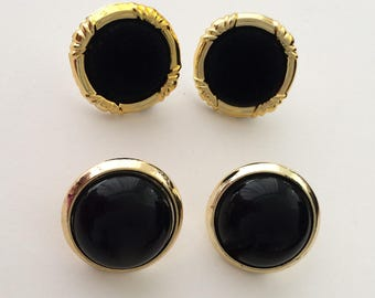 2 Pairs of 1970's Statement Earrings Black Velvet Plastic Gold Clip On and Studs