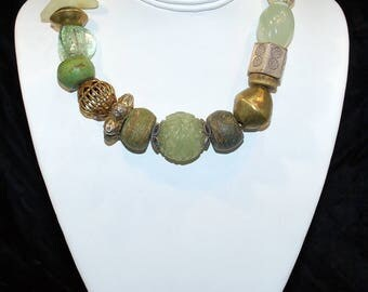 """15"""" Necklace - Carved Jade"""