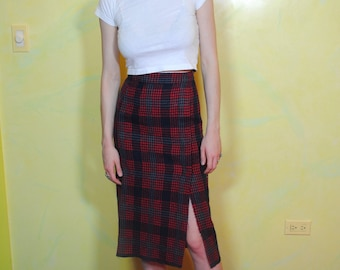 1950s Plaid Wool Pencil Skirt with Slit
