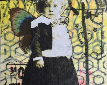 Winged Girl ACEO - Mixed Media Aceo – Original Art Card – Little Girl ACEO - ATC – Affordable Small Art