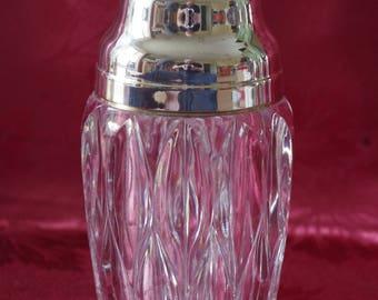 vintage Lead Crystal Cocktail Shaker – Art Deco – silver plate - Martini Shaker – Cobbler Shaker - vintage - Barware - Design - Hand Cut