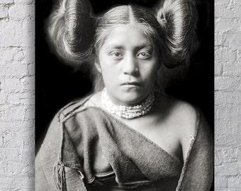 Native American Indian Photograph, Tewa Girl, Indigenous American, Historical Print, History, Portrait, Tribal, Black White Print