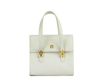 German vintage white mini handbag / Aigner handbag