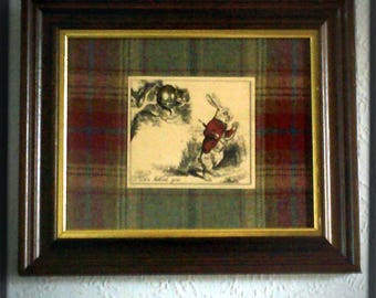 The Cheshire Cat and Mad March Hare/Alice in Wonderland Vintage aged Print/Picture/Image in Recycled Frame