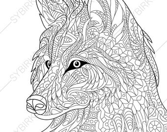 Adult Coloring Page Wolf Zentangle Doodle Book For Adults Digital Illustration
