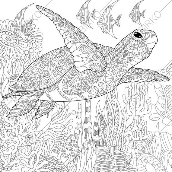 Adult Coloring Page Sea Turtle Zentangle Doodle Coloring