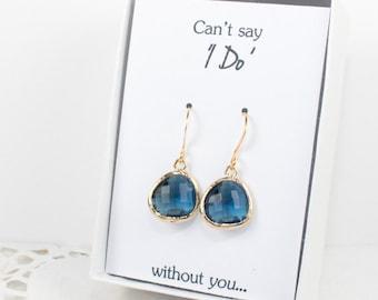 Navy Blue Gold Earrings, Gold Navy Earrings, Blue Gold Earrings, Bridesmaid Gift, Bridesmaid Earrings, Blue Wedding Jewelry