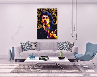 "Tribute To Carlos Santana  Portrait ""Carlos"" - FRAMED ART, pop art, Wall Art, gift for women gift for men, personalized gift, name City Date"
