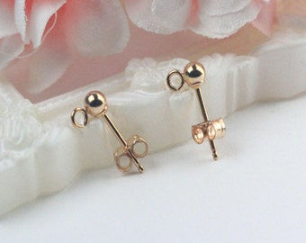 1 pair 3mm Rose Gold Filled Ball Earrings with open ring & earring cap