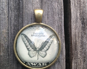 Butterfly Pendant Necklace, Postage Stamp Jewelry, Antique Brass, Sarawak, Vintage, Stamp,  Insect, Black and While, Brookiana, Etsy Jewelry