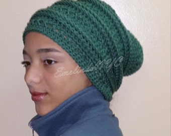 Pine Green Crochet Slouchy Hat