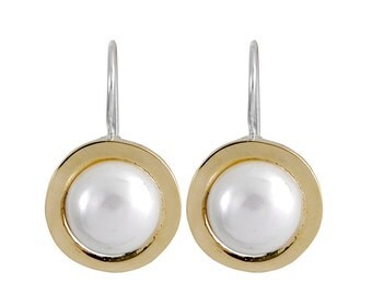Sterling Silver and 9K Gold Pearl Earrings