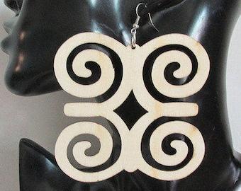 Adinkra Earrings, LazerCut Earrings, Adinkra Jewelry, Square Ethnic Earrings,Lightweight Earrings,Wood Earrings,Boho Jewelry, Gift for Her,