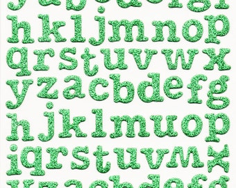 """Green Glitter Chipboard 5/8"""" Letters Alphabet Forever in Time Scrapbook Stickers Embellishments Cardmaking Crafts"""