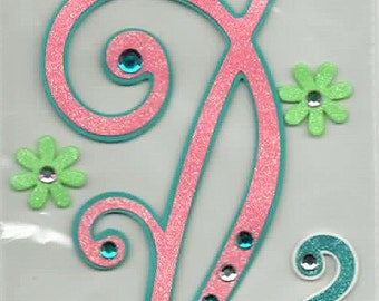 Pink Swirls 3x11 inch Border Glitter 3D Scrapbook Stickers Forever In Time Embellishments Cardmaking Crafts