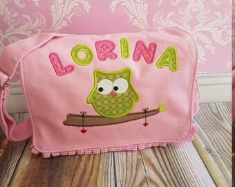 OWL bag with your name OWL nursery bag pink green, pink, sale, name, embroidered, name, kids, summer