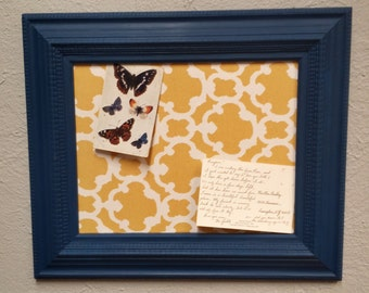 framed cork board fabric covered cork board hand painted blue frame modern french country